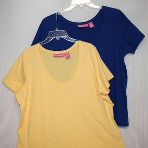 Yellow & Blue V-neck Tees - Read Description!